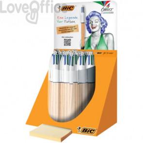 Penna a sfera a scatto BIC 4 Colours Shine fusto oro texturizzato - assortiti 4 colori - 992701