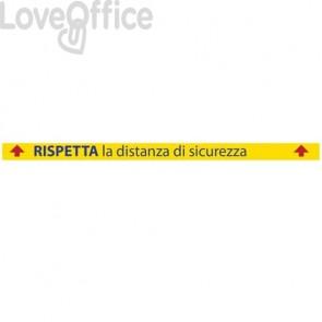 """Adesivo di segnaletica a terra """"Rispetta la distanza di sicurezza - 1 m"""" 100x9,5 cm giallo/rosso/blu - 30013"""