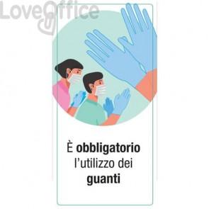 """Adesivo segnaletico """"È obbligatorio l'utilizzo dei guanti"""" 15x30 cm multicolore - 30034"""