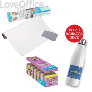 Il kit promozionale è composto da: 24 Blocchetti Post-it® Super Sticky Notes 76x76 mm assortiti neon + Lavagna cancellabile in rotolo Post-it® Super Sticky 60,9x91,4 cm + Borraccia termica