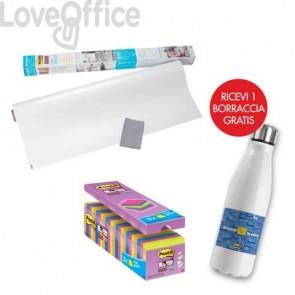 Il kit promozionale è composto da: 24 Blocchetti Post-it® Super Sticky Notes 76x76 mm assortiti neon + Lavagna cancellabile in rotolo Post-it® Super Sticky 121,9x182,9 cm + Borraccia termica