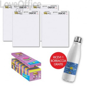 Il kit promozionale è composto da: 24 Blocchetti Post-it® Super Sticky Notes 76x76 mm assortiti neon + 4 Blocchi di fogli da parete Post-it® Super Sticky 63,5x77,5 cm bianco + Borraccia termica