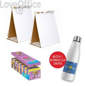 Il kit promozionale è composto da: 24 Blocchetti Post-it® Super Sticky Notes 76x76 mm assortiti neon + 2 Blocchi da tavolo Post-it® Super Sticky 58,4x50,8 cm + Borraccia termica
