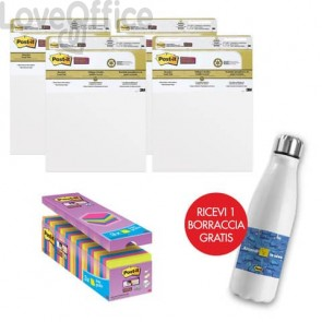 Il kit promozionale è composto da: 24 Blocchetti Post-it® Super Sticky Notes 76x76 mm assortiti neon + 4 Blocchi di fogli da parete Post-it® Super Sticky 63,5x 77,5cm bianco + Borraccia termica