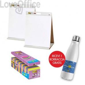 Il kit promozionale è composto da:  24 Blocchetti Post-it® Super Sticky Notes 76x76 mm assortiti neon + 2 Lavagne da tavolo Post-it® Super Sticky 58,4 cm x 50,8 cm + Borraccia termica
