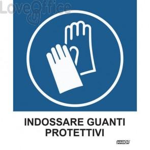 """Adesivi segnaletici Markin """"Indossare guanti protettivi"""" in LWM - 12,5x15,2 cm - X110COV-2 (Conf. 2 pezzi)"""
