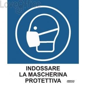 """Adesivi segnaletici Markin """"Indossare la mascherina protettiva"""" in LWM 12,5x15,2 cm - X110COV-4 (Conf. 2 pezzi)"""