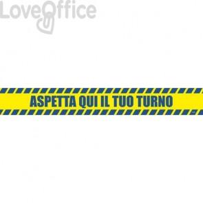 """Adesivi segnaletici calpestabili Markin """"Aspetta qui il tuo turno"""" in PVC 98x8,5 cm - X290COV-10 (Conf. 2 pezzi)"""