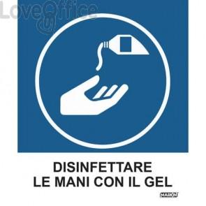 """Adesivi segnaletici Markin """"Disinfettare le mani con il gel"""" in LWM - 12,5x15,2 cm - X110COV-5 (Conf. 2 pezzi)"""