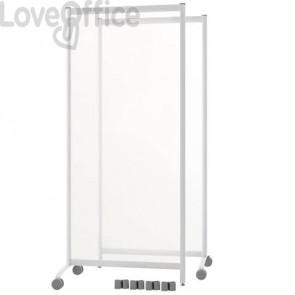 Pannelli separatori di protezione mobili con ruote Paperflow in plexiglass trasparente - 76x44xh170 cm (Set 2 pezzi)
