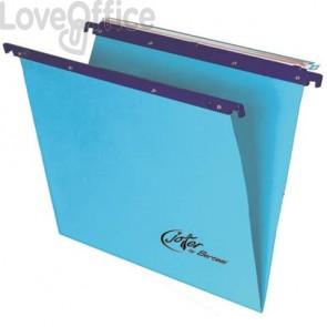 Cartelle sospese orizzontali per cassetti Linea Joker Bertesi 33 cm fondo V - blu (conf. 25 pezzi)