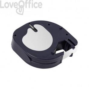 Nastro per etichettatrice Q-Connect compatibile con Dymo LetraTag - plastica - nero/bianco - 12 mm x 4 m - KF18835