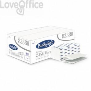 Asciugamani interfogliati piagatura a Z Bulkysoft 21,5x24 cm bianco Cf. 25 fascette da 150 fogli - 83380.E20