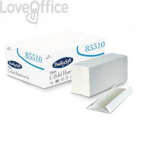Asciugamani interfogliati piagatura a C Bulkysoft 23x31 cm bianco Cf. 20 fascette da 153 fogli - 85510.E20