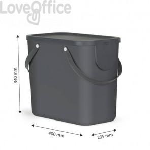 Cestino impilabile per raccolta differenziata Rotho Albula 2 maniglie antracite 25 L - F707535
