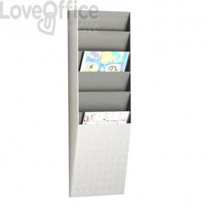 Portadocumenti e riviste a muro Paperflow 6 scomparti A4 23,6x8,3x71,2 cm grigio chiaro