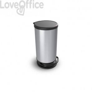Pattumiera con pedale Rotho Paso Round grigio metallizzato coperchio nero - 30 L - F600030