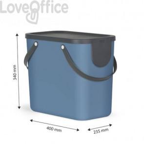 Cestino impilabile per raccolta differenziata Rotho Albula 2 maniglie blu 25 L