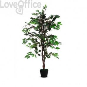 Pianta artificiale albero di fico Paperflow poliestere verde tronco in legno - h. 120 cm - K700136