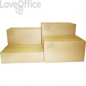 Scatole americane imballo di cartone a 2 onde Euroscatola 400x400x400 mm colore avana - conf. 10 pezzi - 126463