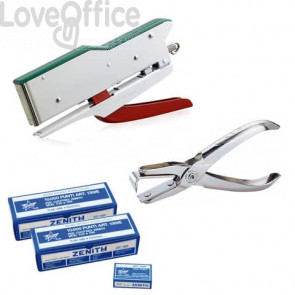 Kit Zenith - Cucitrice 548/E Tricolore + Levapunti + 20x Punti metallici 130/E