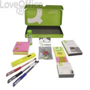 Kit dimostrativo da scrivania Q-Connect - penne gel, calcolatrice, colla, nastro adesivo, post-it, evidenziatore, correttore e segnapagina