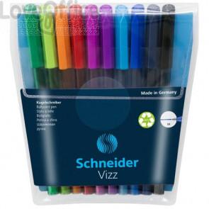Penne a sfera con cappuccio Schneider VIZZ tratto M colori assortiti conf. 10 pezzi - P102290