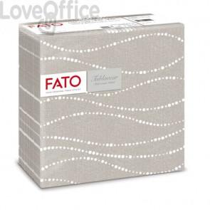 Tovaglioli piegati 1 velo Fato Tablewear 40x40 cm  pura cellulosa decoro Perle tortora conf. 50 pezzi - 88446600