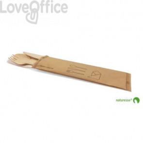 Set posate in legno monouso Scatolificio del Garda forchetta-coltello-cucchiaio tovagliolo avana Conf. 250 pezzi - 20380