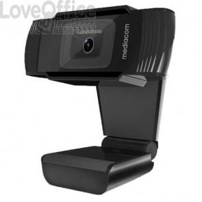 Webcam Mediacom M450 Full HD nero - risoluzione 1920x1080 px -USB 2.0 compatibile Windows e Mac OS - M-WEA450