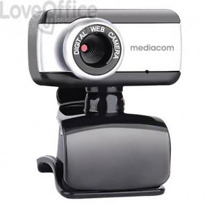 Webcam Mediacom M250 nero/silver risoluzione 640x480 px - USB 2.0 compatibile Windows e Mac OS - M-WEA250