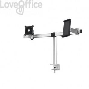"""Braccio porta monitor per 1 schermo max 27"""" e 1 tablet max 13"""" DURABLE argento metallizzato 780x445x190 mm - 5087-23"""