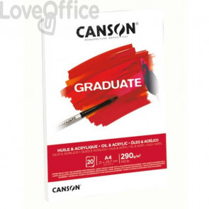 Blocco da disegno Canson per olio e acrilico bianco 290 g/m² A4 - 10 fogli C400110380