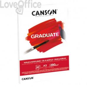 Blocco da disegno Canson per olio e acrilico bianco 290 g/m² A3 - 10 fogli C400110381