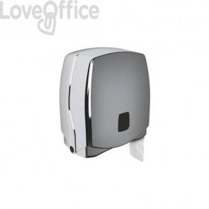Mini distributore di carta igienica jumbo QTS Ø max rotolo 20 cm - argento STE-TO3/SS