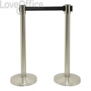 Set di 2 colonne segnapercorso Securit® 93x33x33 cm nastro retrattile nero 210 cm acciaio inox  grigio-nero RS-RT-LW-CH