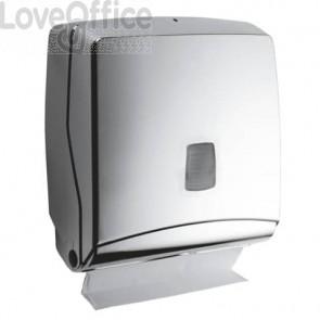 Mini distributore di carta asciugamani QTS Sterling - capacità 300 fazzoletti - 28,5x14,5x30 cm  argento - STE-FO2/SS