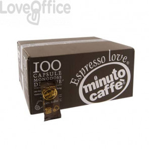 Caffè in capsule compatibili Nespresso Minuto caffè Espresso love3 100% arabica cartone 100 pezzi - 01311