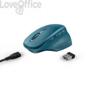 Mouse ergonomico ricaricabile wireless Trust OZAA ricevitore USB A 2.0 - portata 10 m - azzurro