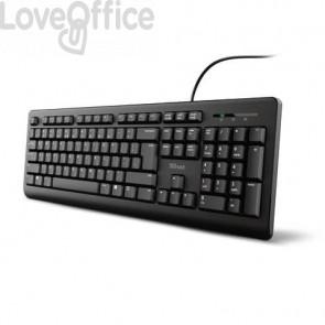 Tastiera con cavo Trust TK-150 Silent cavo 1,8 m USB A 2.0 - design resistente ai liquidi nero - 23981