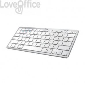 Tastiera wireless Bluetooth 4.0 Nado Trust ultrasottile 28,6x12,1x2,2 cm - portata 10 m - bianco/grigio - 23749