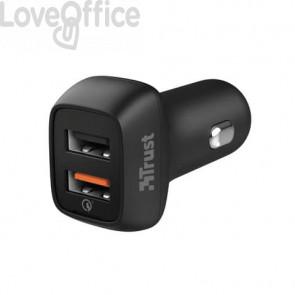 Caricabatteria ultrarapido per auto doppio USB Trust Qmax nero 23562