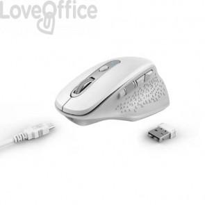 Mouse ergonomico ricaricabile wireless Trust OZAA ricevitore USB A 2.0 - portata 10 m - bianco - 24035