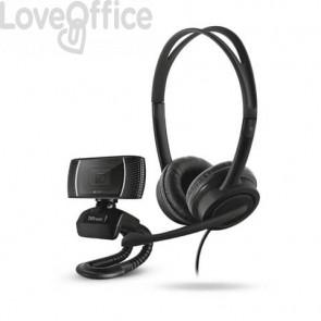 Set 2-in-1 Home Office webcam e cuffie con filo Trust Doba nero 24036