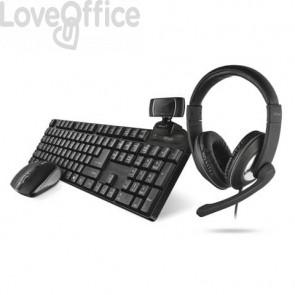 Set 4-in-1 Home Office Trust  QOBY nero tastiera wireless + mouse wireless + webcam HD + cuffie over-ear - 24041