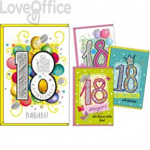Biglietti augurali Kartos 18° compleanno 11,7x17 cm - Maschio e femmina - Conf. 12 pezzi  - 07551902