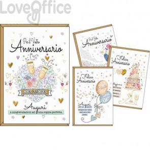 Biglietti augurali  Kartos Felice anniversario 11,7x17 cm - Soggetti vintage - Conf. 12 pezzi - 17985607