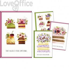 Biglietti augurali Kartos Buon compleanno 11,7x17 cm -Torte fiorite Conf. 12 pezzi - 07553302