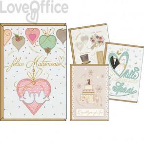 Biglietti augurali Kartos Felice matrimonio 11,7x17 cm - cuori, fiori, torta e sposi - Conf. 12 pezzi 17984201