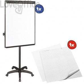 Kit 1x Lavagna magnetica 70x100 cm + 2x conf. da 5 Blocchi da 20 fogli mobili senza rigatura